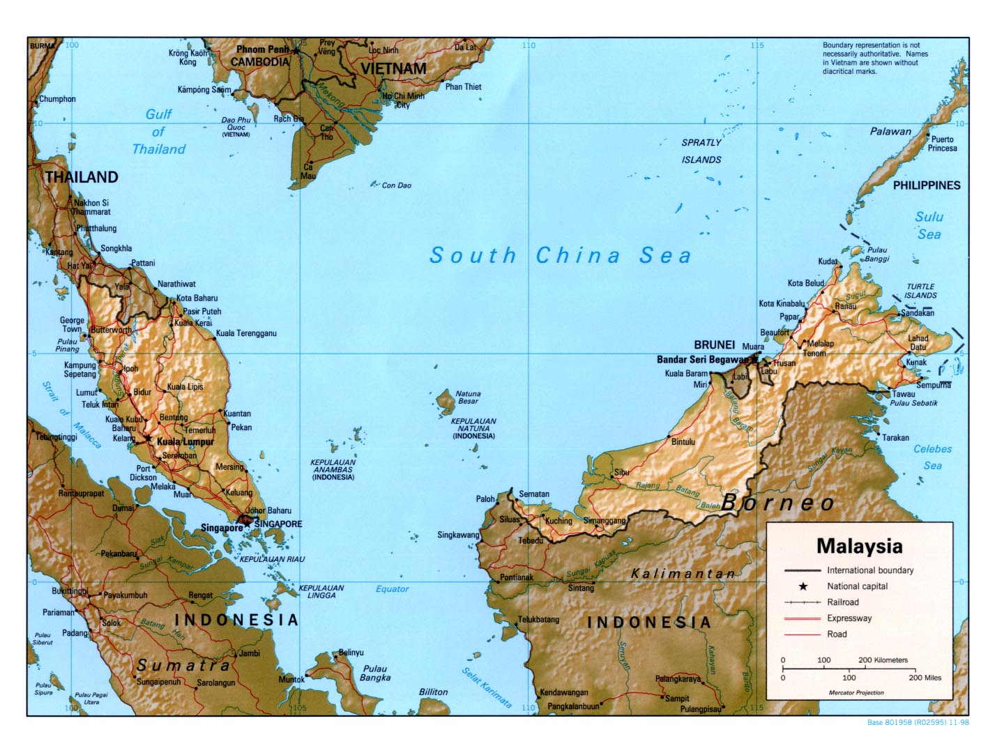 Malaysia Map (Courtesy of University of Texas Library)