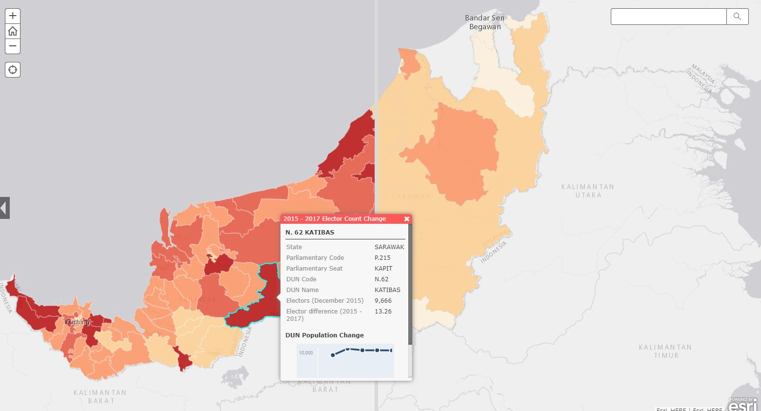 Evolution of Sarawak DUN Electorate Population